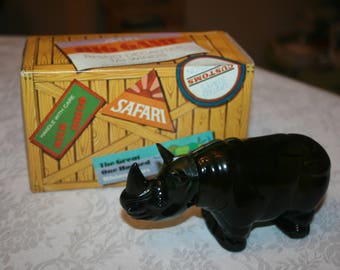 Vintage Avon Cologne Bottle Big Game Rhino Decanter Tai Winds After Shave