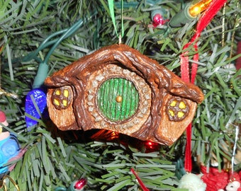 OOAK Hobbit Hole Lord of the Rings LOTR CHRISTMAS Ornament