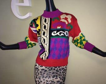 Vintage 80s 90s Caché Sweater 1980s 1990s Denise Cosby Sweater Metallic & Mohair Vibrant Jewel Tones Versace Style Mod meets Edwardian Small
