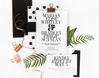 Modern Champagne Press Wedding Invitation Suite