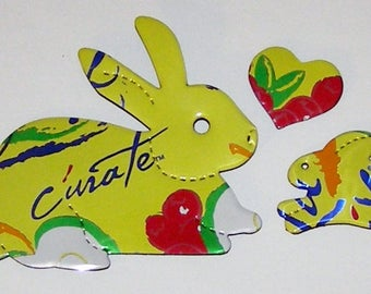 Bunny Rabbit and Heart Magnet Set - LaCroix Cúrate - Apple Cranberry