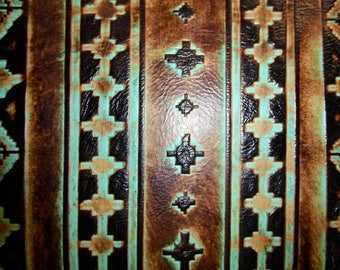 """Leather 12""""x20"""", 10""""x24"""" or 15""""x15"""" Sea Foam and Mocha NAVAJO Tribal Southwestern Embossed Cowhide 2.5-3 oz/1-1.2 mm PeggySueAlso™ E2400-02"""