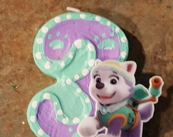 Paw Patrol Inspired candle with character-painted candle birthday candle cake topper cake candle paw print party decor puppy Everest candle