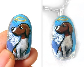 Dog Portrait Stone, Pointer Dog Necklace, Pet Painting, Angel Pendant, Memorial Gift for Her, Hand Painted Pebble Art, Death of Pet