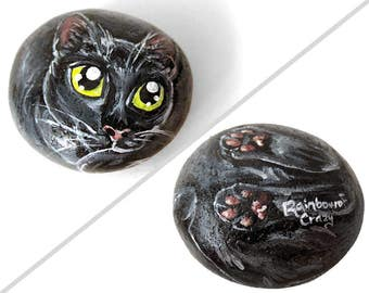 Black Cat Art, Pet Portrait, Hand Painted Rock, Memorial Stone, Original Painting, Cat Lover Gift, Yellow Eyes, Paperweight, Keepsake Gift
