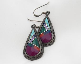 Zuni Inlay Earrings, Malachite Turquoise, Sugilite, Sterling Silver, Semi Precious Gems