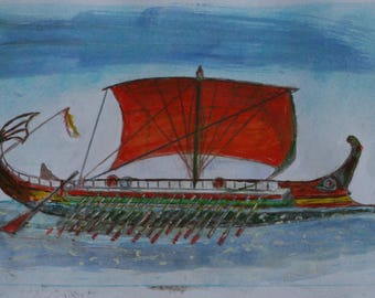 Watercolor painting of a Trireme