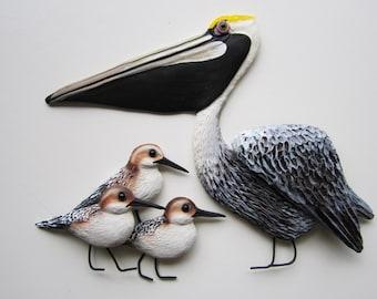 Nautical beach wall decor,Florida bird art,sandpipers,Pelican sculpture,key west