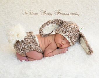 Baby Hat - READY Baby Bunny Hat & Diaper Cover Brown and Cream with Big Fluffy Tail and Ribbon