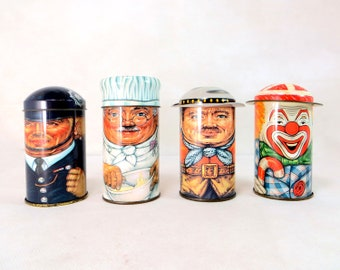 4 Vintage Character Tins, Collectible Set of 4 Daher New York Cap-Tins, Lidded Chef, Policeman, Cowboy & Clown + Hats 1980s