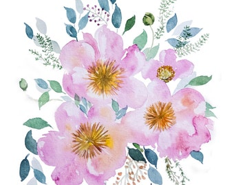 "Floral (Peony) Water Color Art (11"" x 15"")"