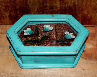 Teal Flower Vintage Music Jewelry Box - Small Jewelry Box - Ring Holder, Jewelry Storage, Refinished, Shabby Chic, Dresser Jewelry Box