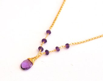 It was 70, now 25. Amethyst Gold Necklace, Gold-Filled, Purple Amethyst Necklace, February birthstone Jewelry, Purple stone Necklace