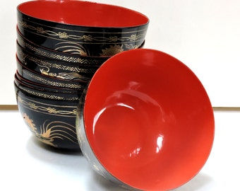 Vintage Bowl, Lacquered Wood Bowl,Japanese,Soup Bowls,Snack Bowl,Ice Cream Bowl,Cereal Bowl