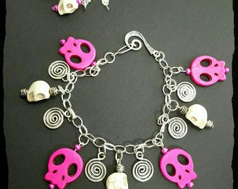 Sugar skull bracelet set, sugar skull earrings, skull jewelry set, skull bracelet