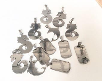 13pc seahorse dolphin pendants stainless steel laser cut pendants destash lot