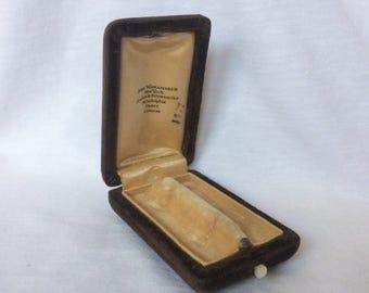Vintage Cufflinks Box Brown Velvet Cuff Link Lingerie Bar Pin Jewelry display MOP Pearl Button Philadelphia Paris London