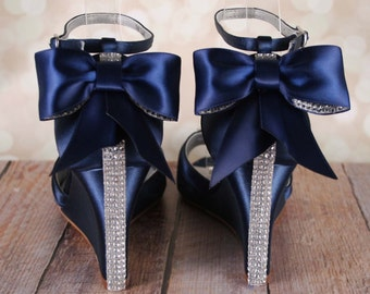 Bow wedding shoes etsy navy blue wedding shoes navy blue bridal heels bow wedding shoes wedding bling junglespirit Choice Image
