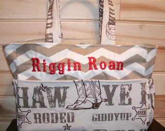 Diaper bag, handbag, purse, book bag..Cowboy N Chevron..Add Name, Choose a font. Customize yours now.