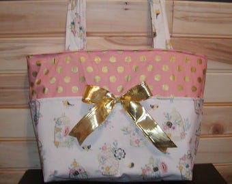 READY to ship Diaper bag, handbag, purse, book..Bird Cages N Coral N Gold Dot..Match your carseat canopy(see fashionfairytales).