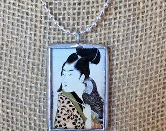 The Falconer Vintage Japanese Art Silver Soldered Glass Pendant Charm Necklace