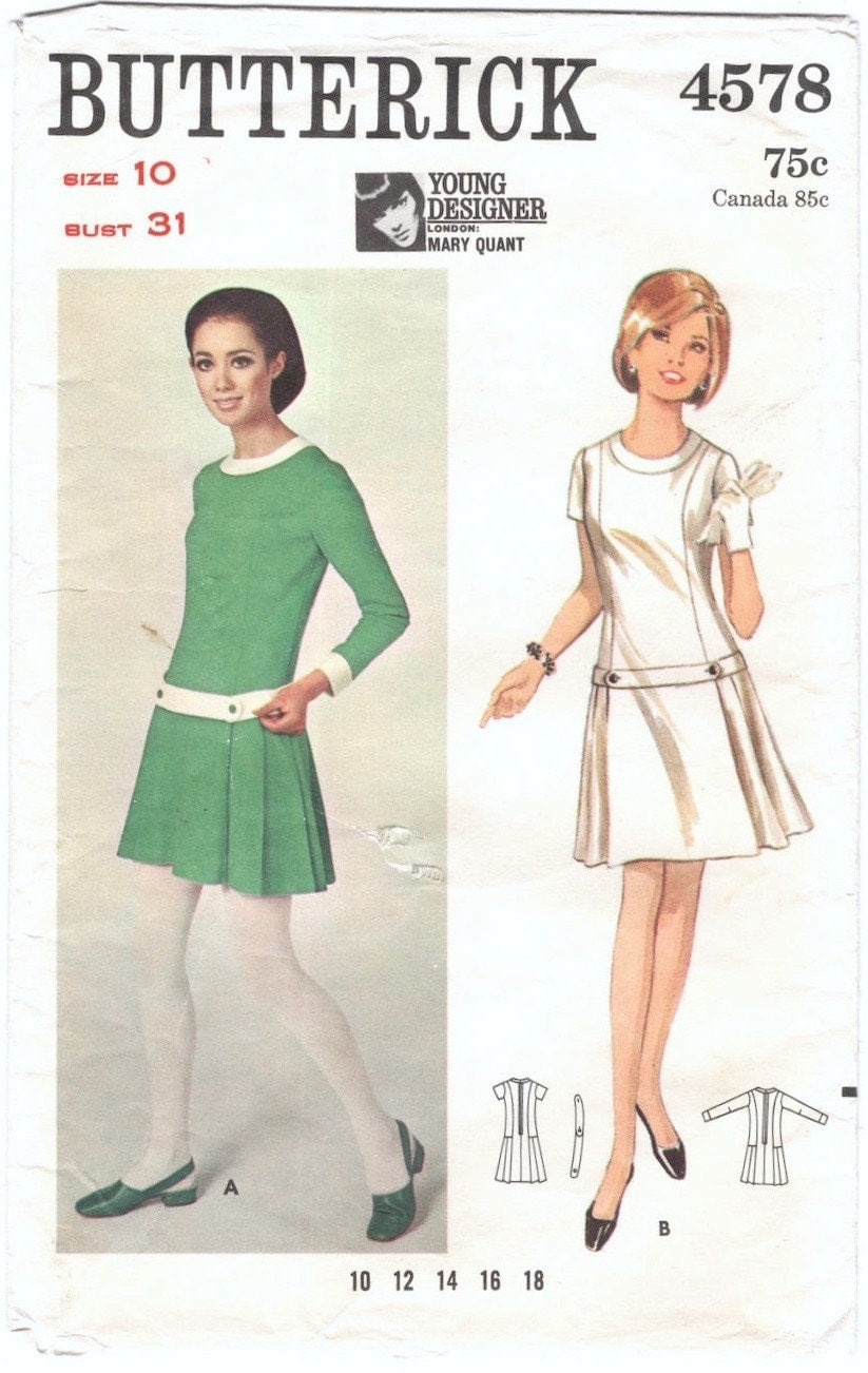 1960s Mary Quant dress pattern Butterick 4578