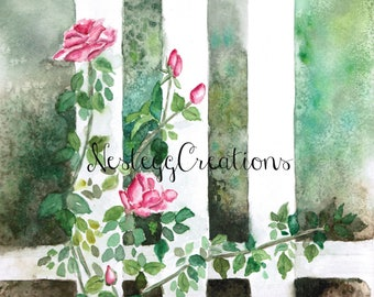 Orginal Watercolor Painting - Pink roses along white fence