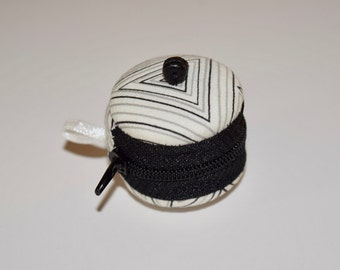 Small, Beaded, Black & White MACAROON for storing jewelry, coins, pills...