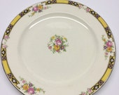 Reserved 13  Dinner Plate 10 inch Edwin M. Knowles China Company Made in USA 41-3 Yellow Band With Purple and Black Pink Roses
