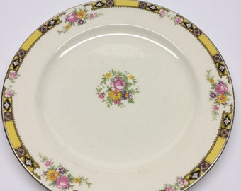 Dinner Plate 10 inch Edwin M. Knowles China Company Made in USA 41-3 Yellow Band With Purple and Black Pink Roses