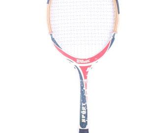 Vintage Wooden Tennis Racket / Wilson Red White Blue Sport Tennis Racket / Old Wood Tennis Racket / Antique Tennis Racket / Sports Decor