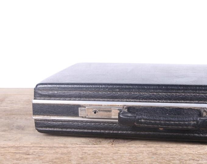 Vintage Black Briefcase / Antique Hardshell Black Briefcase / Suitcase Luggage / Old Suitcase / Vintage Luggage Bag
