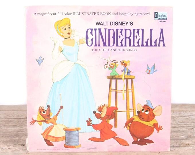 Vintage 1969 Walt Disney's Cinderella Record / A Disneyland Record 3908 / Antique Vinyl Records / Old Records Music / Kids Movie Room Decor