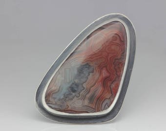 Laguna Lace Agate and Sterling Ring, Cocktail Ring, Laguna Lace Agate Statement Ring, Unisex Ring, Size 8