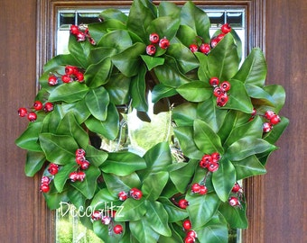 MAGNOLIA CHRISTMAS Wreath with Frosted Red BERRIES