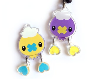Drifloon Reversible Acrylic Charm - Double-Sided Pokemon Keychain