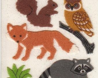 ON SALE Rare Vintage Sandylion Fuzzy Forest Animals Sticker Mod - Raccoon Owl Fox Squirrel Scrapbook Collage