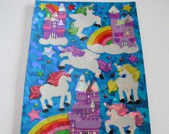SALE Sandylion Unicorn Prism Stickers Vintage Maxi Sheet - 80's Prismatic Pegasus Fantasy Castle Rainbow