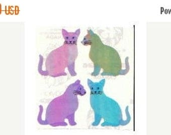 SALE Rare Vintage Sandylion Pearl Finish Siamese Cats Stickers - 80's Opal Rainbow