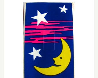 SALE Rare Vintage Sandylion Moon and Stars Lightswitch Cover Sticker 80's
