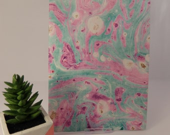 Mint & lilac A5 digitally marbled notebook, 40 lined pages, textured cover