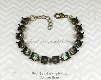 8mm (39ss) antique brass empty cup chain bracelet