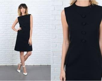 Vintage 60s Black Mod Dress Knit Mini Sleeveless XS 9239 vintage dress 60s dress black dress mini dress xs dress