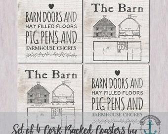 Coaster Set | Barn and Pig Pen | Ranch Farmhouse Chic Decor | Cork Back Non Slip | Options at Checkout