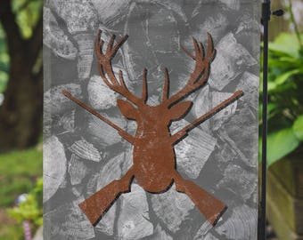 Hunting Flag | Lodge Buck Mountain Decor | Garden or Large House Flag | Size via Dropdown | Convo for Custom