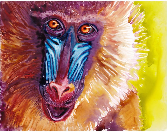 """Featured listing image: Baboon Art Abstract Watercolor Art Poster Print 11x14"""" Watercolor Baboon Monkey Primate Print Baboon Painting Art Monkey Abstract Watercolor"""