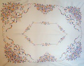 Vintage Rectangular Tablecloth Large Floral Embroidered Cotton Tablecloth Crewel Fabric Pink Green Embroidered Flowers And Bow Table Cloth