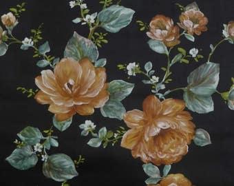 10m or 1 roll vintage floral wallpaper with orange flowers on a black background. Free sample