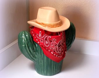 Southwestern Cookie Jar - SAGUARO CACTUS Jar with Cowboy Hat Lid - Treasure Craft USA - Vintage Cookie Jar