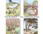 Classic Winnie the Pooh Nursery Print (Girls Decor, Boys Room Wall Art) Mix & Match Gift, Set of 4 SALE